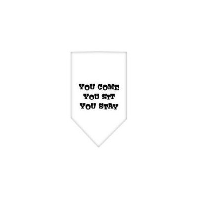 Ahi You Come You Sit You Stay Screen Print Bandana White Large