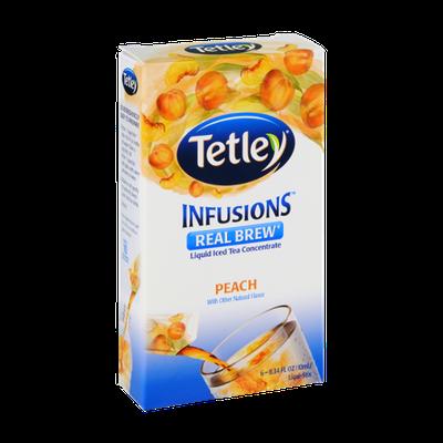 Tetley Infusions Real Brew Peach Liquid Iced Tea Stix - 6 CT