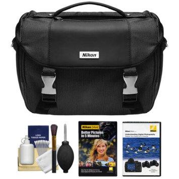 Nikon Deluxe Digital SLR Camera Case Gadget Bag with Instructional DVDs + Cleaning Kit for D3200, D3300, D5200, D5300, D7000, D7100, D610, D750, D810