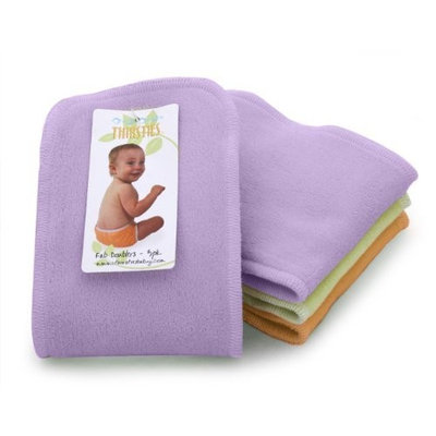 Thirsties 3 Pack Girls Fab Doublers Soft Cotton Velour, Orchid/Mango/Honeydew, Large