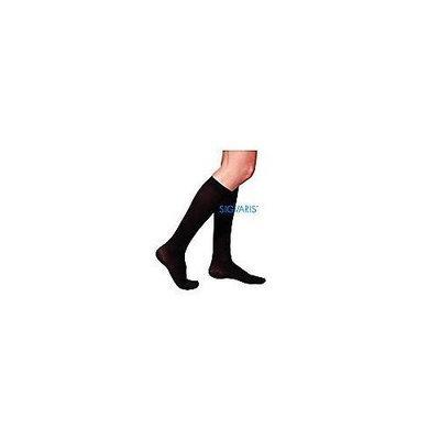 Sigvaris 230 Cotton Series 30-40 mmHg Women's Closed Toe Knee High Sock Size: Medium Short, Color: Black Mist 14