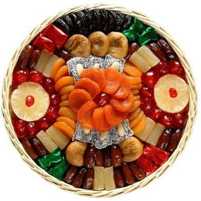 Broadway Basketeers Dried Fruit Round Basket Gift Basket
