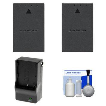 (2) Power2000 BLS-1 Rechargeable Batteries with Charger + Cleaning Kit for Olympus Evolt E-450, E-600, E-620, PEN E-P3, E-PL2, E-PL3 & E-PM1 Digital Camera