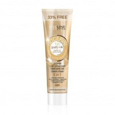 Eveline Cosmetics GLYCERINE SUPER-CONCENTRATED HAND AND NAIL CREAM-MASK 5 IN 1 BIO GOAT'S MILK + VITAMIN E, KARITE BUTTER