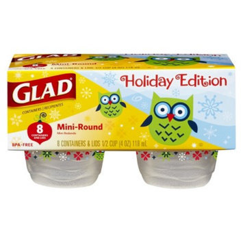 Glad Holiday Edition Mini-Round Food Storage Containers with Lids 8 ct