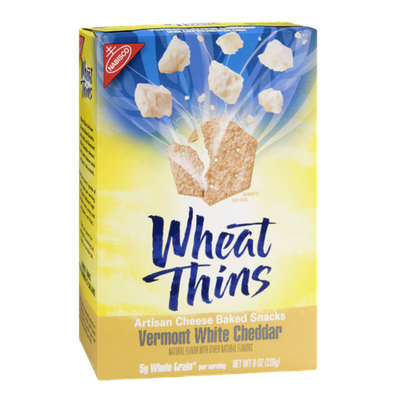 Nabisco Wheat Thins Vermont White Cheddar Artisan Cheese Baked Snacks