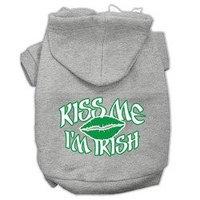 Mirage Pet Products Kiss Me I'm Irish Screen Print Pet Hoodies Grey Size XS (8)