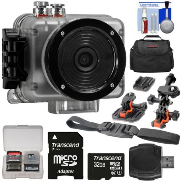 Intova Nova HD Waterproof Sports Video Camera Camcorder with 32GB Card + Curved Helmet, Flat Surface & Vented Helmet Mounts + Case + Kit