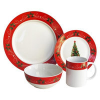 Savinio Designs Christmas Tree 16 Piece Dinnerware Set