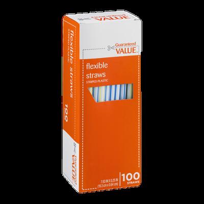 Guaranteed Value Flexible Straws Striped Plastic - 100 CT
