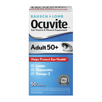Ocuvite Adults 50+ Soft Gels Eye Vitamin & Mineral Supplement 50 ct