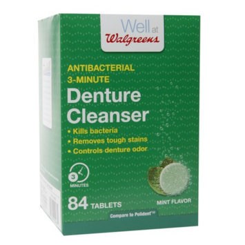 Walgreens Antibacterial 3-Minute Denture Cleanser Tablets, Mint, 84 ea