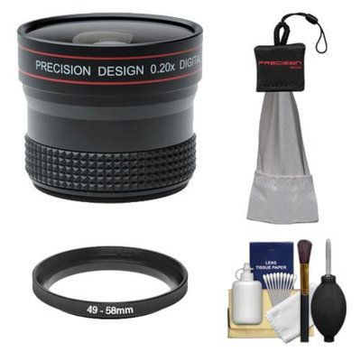 Precision Design 0.20x HD High Definition Fisheye Lens with Cleaning & Accessory Kit for Sony NEX-C3, NEX-F3, NEX-5N, NEX-5R, NEX-6, NEX-7 Digital Cameras