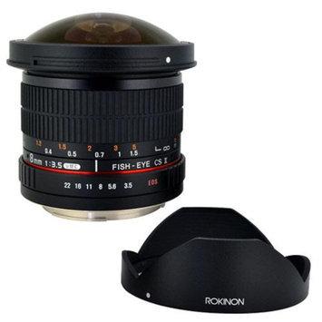 Rokinon 8mm f/3.5 HD Fisheye Lens with Removable Hood for Nikon + Lens Band (Bla