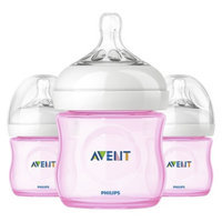 Philips Avent BPA Free Natural 4 Ounce Polypropylene Bottles, Pink, 3-
