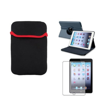 Insten iPad Mini 3/2/1 Case, by INSTEN Navy Blue 360 PU Leather Case Cover+Matte SP for iPad Mini 3 2 1