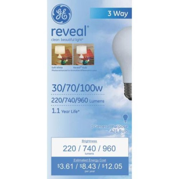 GE Lighting 97784 Reveal 3-Way Light Bulb-30/100W REVEAL 3WAY BULB