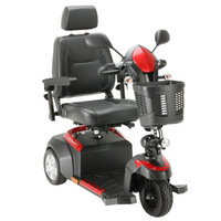 Drive Medical Ventura 3 Wheel Scooter with Captain Seat, Red & Blue, 18 inch Seat, 1 ea