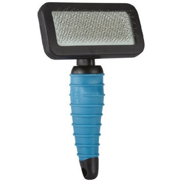 Master Grooming Tools Stainless Steel Turn N Lock Pet Slicker Brush with Rubber Handle, 6-1/2-Inch