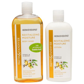 Smith & Vandiver Aromatherapaes Revitalizing Moisture Body Wash & Lotion Set, Honey & Almond, 2 ea