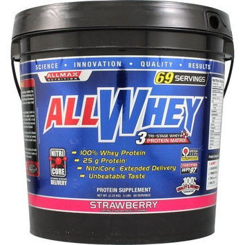 ALLMAX Nutrition ALLWHEY 3 Stage Whey Protein Matrix Strawberry -- 5 lbs