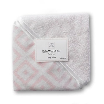 SwaddleDesigns Terry Velour Baby Washcloth Set - Very Light Pink with Pastel Pink Mod Squares