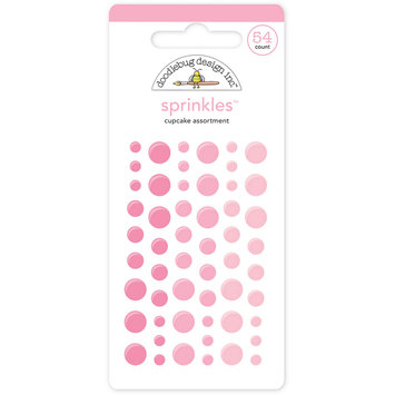 Doodlebug MONOS-4004 Monochromatic Sprinkles Glossy Enamel Sticker Dots 54-Pkg-Cupcake