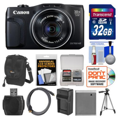 Canon PowerShot SX700 HS Wi-Fi Digital Camera (Black) with 32GB Card + Case + Battery & Charger + Tripod + HDMI Cable + Kit