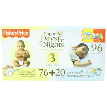 Fisher-Price Happy Days & Happy Nights Baby Diapers Value Pack, Size 3, 96 Count