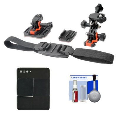 Vivitar Essentials Bundle for GoPro HD HERO 3 Action Camcorder with Helmet & Flat Surface Mounts + Battery + Cleaning Kit