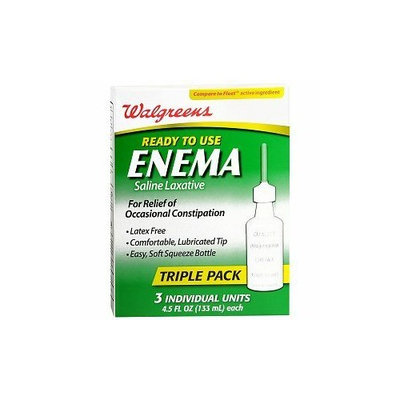 Walgreens Ready to Use Enema Saline Laxative 3 Pack, 3 ea