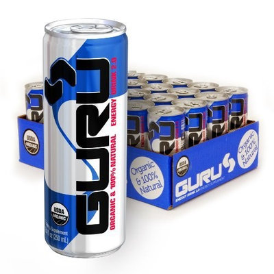 GURU 2.0 Energy Drink, Organic and 100% Natural, 8.4-Fluid Ounce Can (Pack of 24)