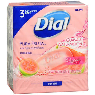 Dial Pura Fruta Refreshing Glycerin Bar Soap Guava & Watermelon