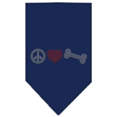 Mirage Pet Products 6761 LGNB Peace Love Bone Rhinestone Bandana Navy Blue large
