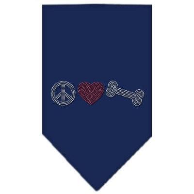 Mirage Pet Products 6761 LGNB Peace Love Bone Rhinestone Bandana Navy Blue large