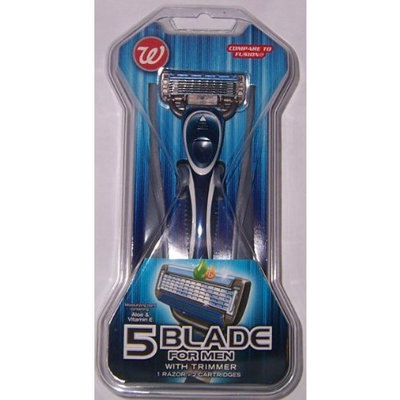 Walgreen's W 5 Blade Razor For Men With Trimmer