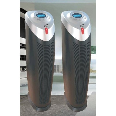 3Q AP021 Twin Pack Multistage Air Purifier Ionic Air Cleaning System with True Hepa, UV-C Power and Ionizer w/Remote, 28-Inch