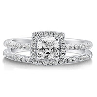 BERRICLE Sterling Silver 0.75 ct.tw Cushion Cubic Zirconia CZ Halo Engagement Wedding Ring Set []