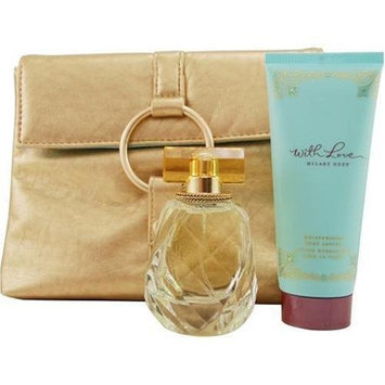 With Love Hilary Duff By Hilary Duff For Women. Set-eau De Parfum Spray 1.7 OZ & Body Lotion 3.3 OZ & Metallic Clutch