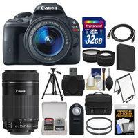 Canon EOS Rebel SL1 Digital SLR Camera & EF-S 18-55mm IS with 55-250mm IS STM Lens + 32GB Card + Case + Battery + Tripod + 2 Tele/Wide Lens Kit