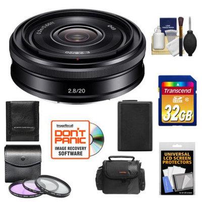 Sony Alpha E-Mount 20mm f/2.8 Wide-Angle Pancake Lens with 32GB Card + Battery + Case + 3 (UV/FLD/CPL) Filters + Accessory Kit for NEX-F3, NEX-3N, NEX-5N, NEX-5R, NEX-6, NEX-7 Digital Camera