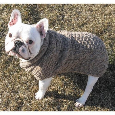 Chilly Dog Natural Cable Dog Sweater, XXX-Large