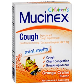 Mucinex Kids Children's Cough Mini-Melts Granule Packets Orange Creme