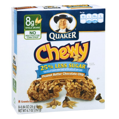 Quaker Chewy 25% Less Sugar, Peanut Butter Chocolate Chip