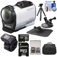 Sony Action Cam HDR-AZ1 Mini HD Video Camera Camcorder & Live View Remote with 32GB Card + Car Suction Cup & Dashboard Mounts + Case + Flex Tripod + Kit