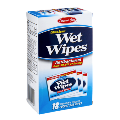 Personal Care Antibacterial Citrus Scent Wet Wipes - 18 CT