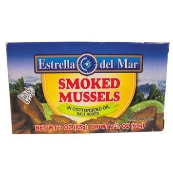 Estrella Del Mar Smoked Mussels in Oil, 3 Ounce Cans (Pack of 24)