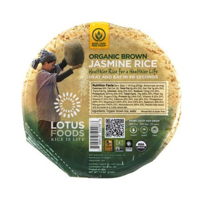 Lotus Foods Heat & Serve Rice Bowls Jasmine, Brown, 7.4 oz