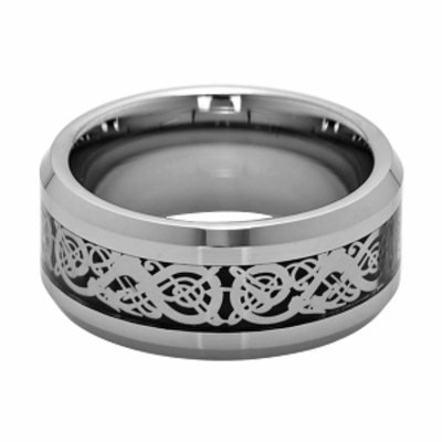 Emitations Asher's Cut Out Silver Tungsten Ring - 2.5MM, 9, 1 ea