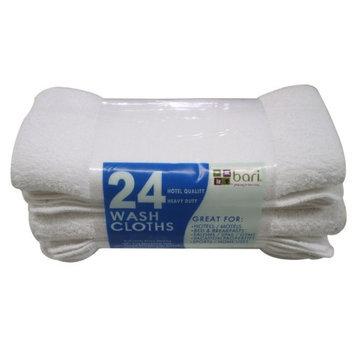 Bari Washcloths - White - 12 x 12 - 24 pk.